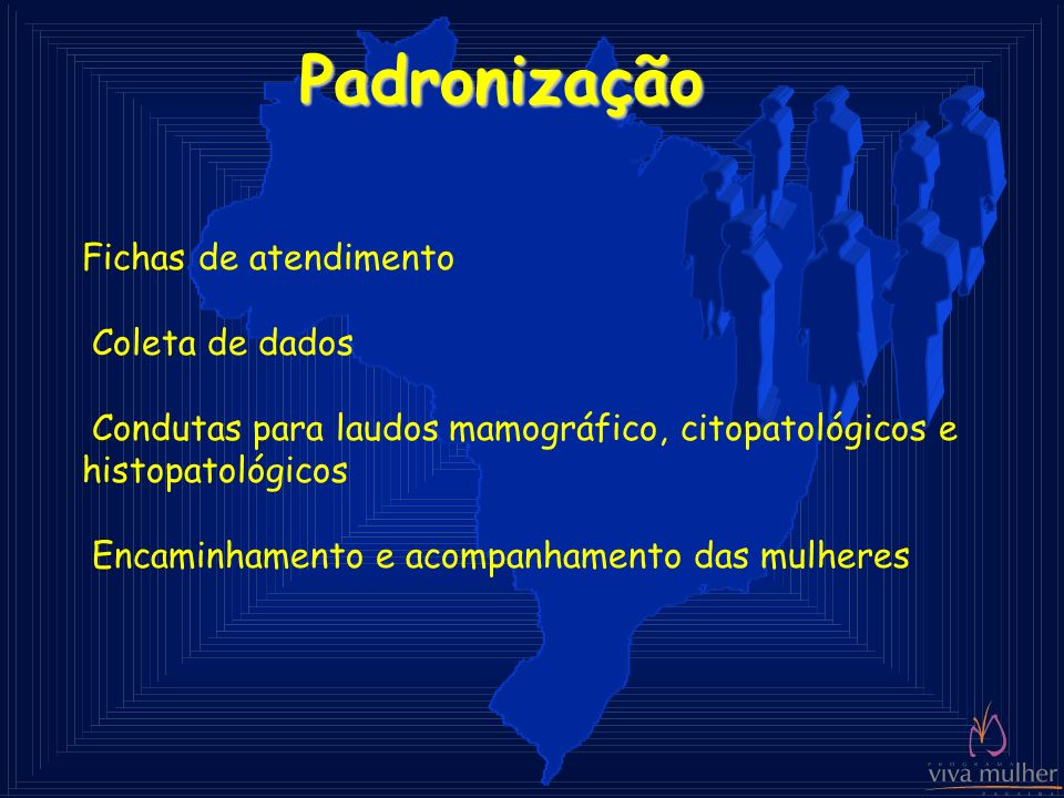 Padronização Fichas de atendimento Coleta de dados Condutas para laudos mamográfico, citopatológicos e histopatológicos Encaminhamento e acompanhament