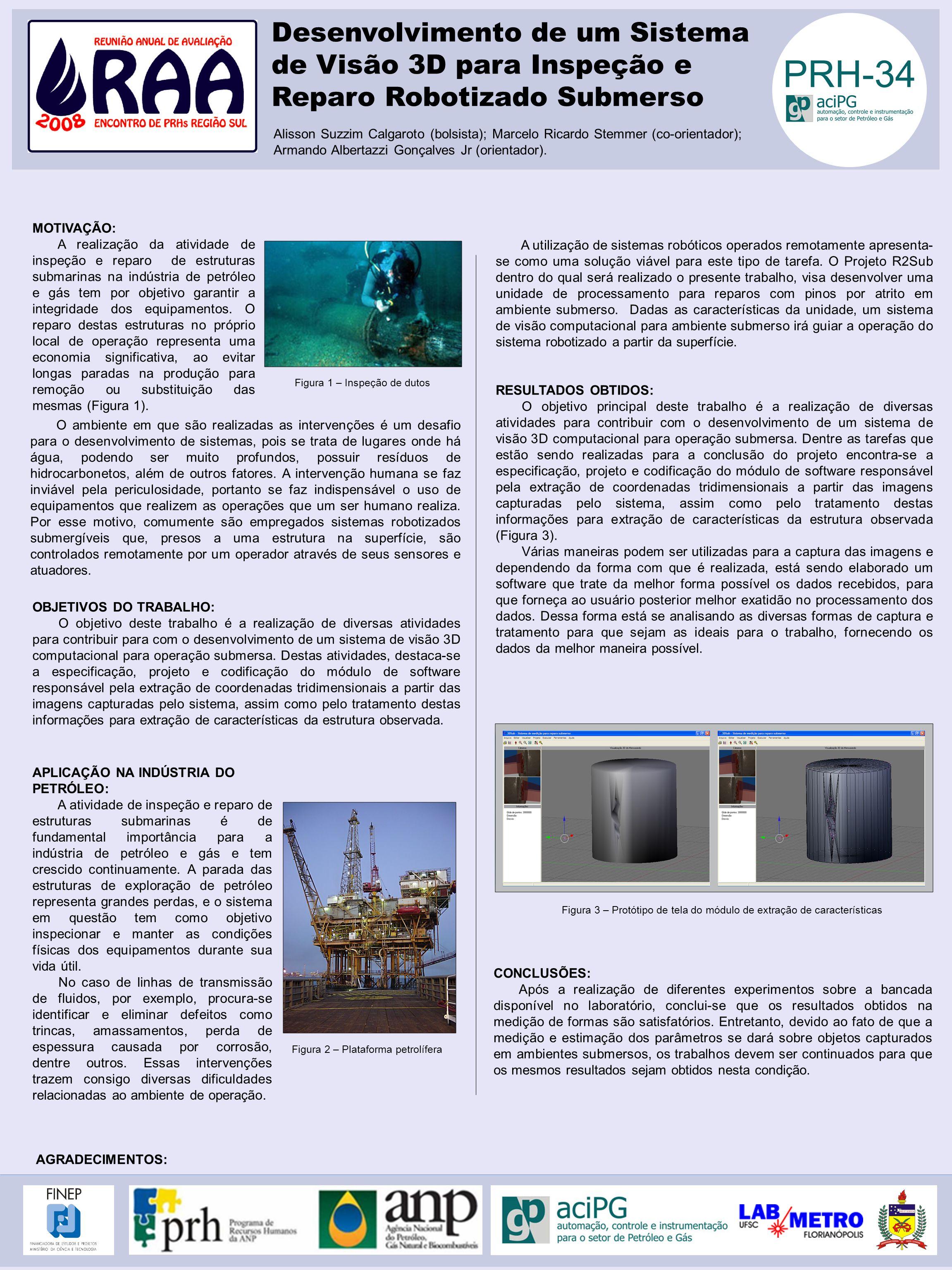AGRADECIMENTOS: MOTIVAÇÃO: A realização da atividade de inspeção e reparo de estruturas submarinas na indústria de petróleo e gás tem por objetivo gar