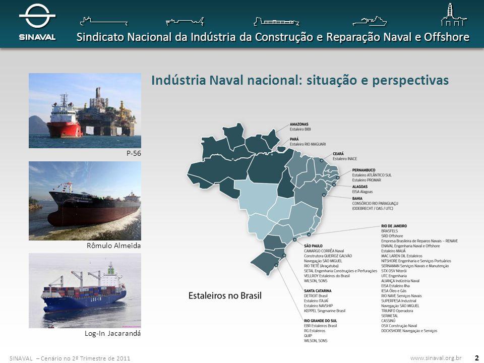 SINAVAL – Cenário no 2º Trimestre de 2011 www.sinaval.org.br Sindicato Nacional da Indústria da Construção e Reparação Naval e Offshore 2 P-56 Rômulo