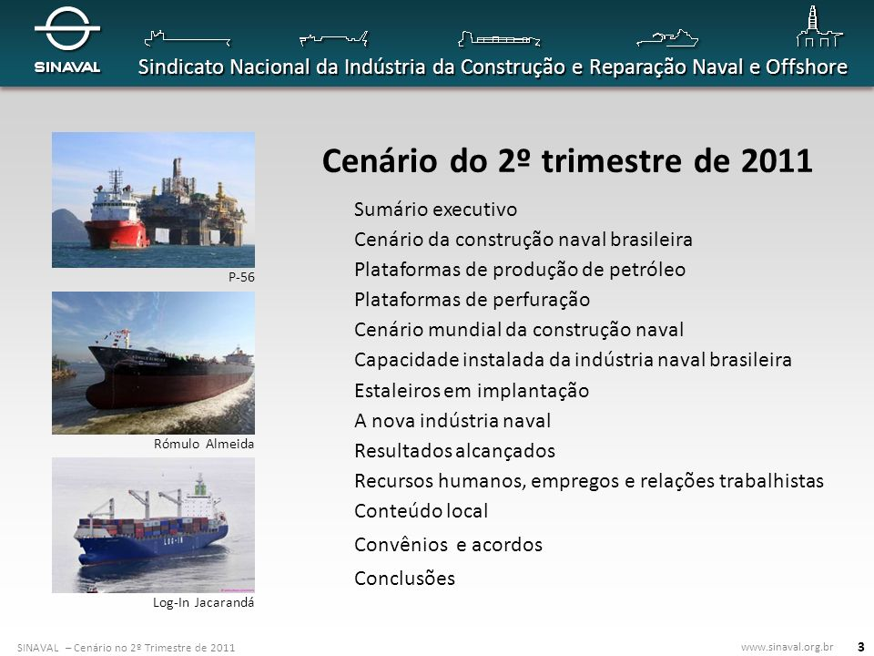SINAVAL – Cenário no 2º Trimestre de 2011 www.sinaval.org.br Sindicato Nacional da Indústria da Construção e Reparação Naval e Offshore 14 Plataformas de produção de petróleo 1 0 plataformas inteiramente construídas em estaleiros locais: P-56 já entregue; P-55; 8 cascos de FPSO para o pré-sal em construção no RG Estaleiros, em Rio Grande (RG).