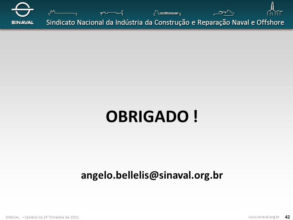 SINAVAL – Cenário no 2º Trimestre de 2011 www.sinaval.org.br Sindicato Nacional da Indústria da Construção e Reparação Naval e Offshore 42 OBRIGADO !
