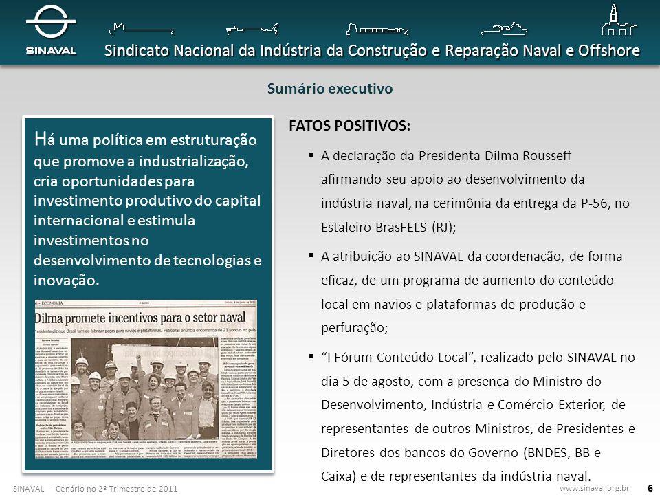 SINAVAL – Cenário no 2º Trimestre de 2011 www.sinaval.org.br Sindicato Nacional da Indústria da Construção e Reparação Naval e Offshore 37 Convênios e acordos internacionais O SINAVAL assinou acordos que asseguram o desenvolvimento de parcerias com instituições que representam indústrias na Argentina, Espanha, na Coréia e no Japão.
