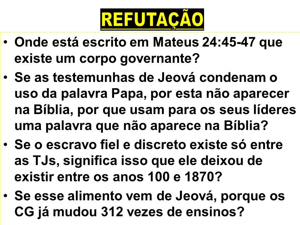 Onde está escrito em Mateus 24:45-47 que existe um corpo governante? Se as testemunhas de Jeová condenam o uso da palavra Papa, por esta não aparecer