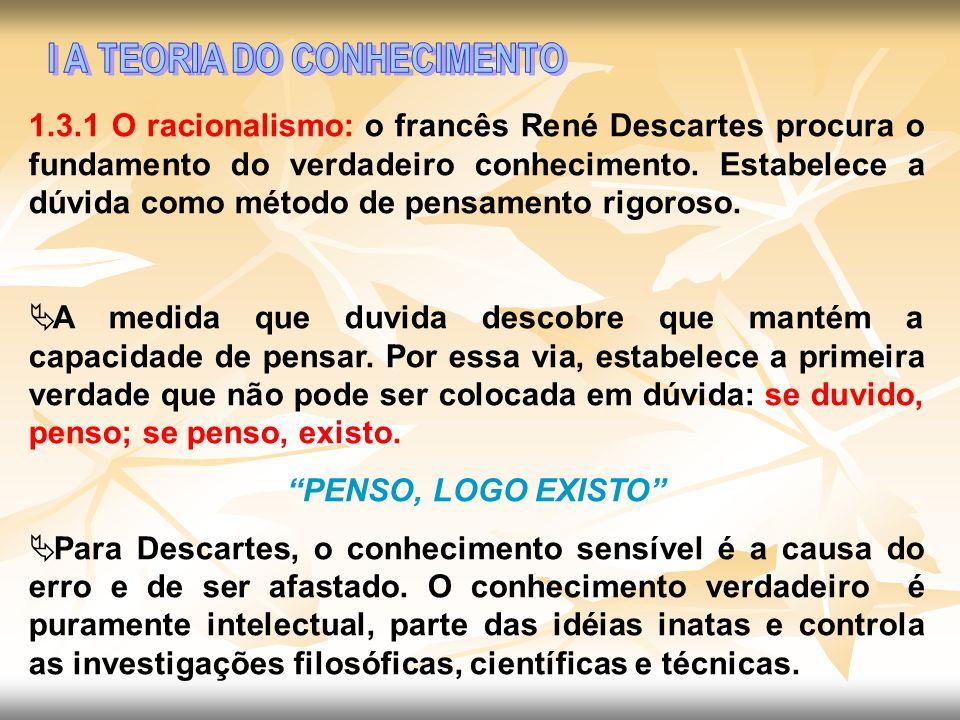 1.3.1 O racionalismo: o francês René Descartes procura o fundamento do verdadeiro conhecimento. Estabelece a dúvida como método de pensamento rigoroso
