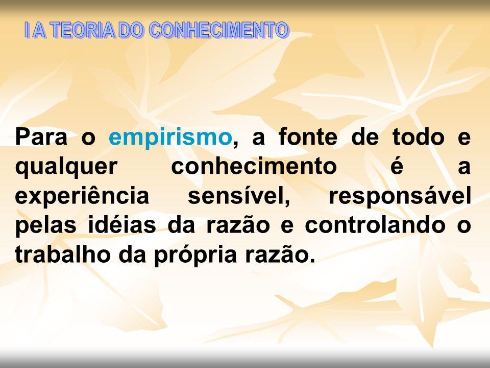 Para o empirismo, a fonte de todo e qualquer conhecimento é a experiência sensível, responsável pelas idéias da razão e controlando o trabalho da próp