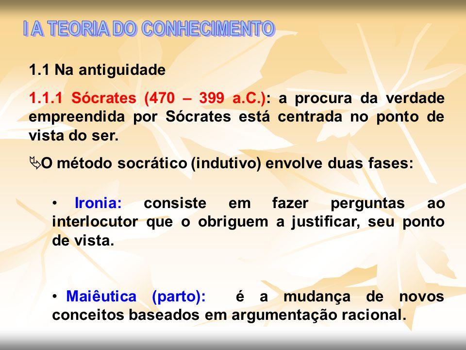 1.1 Na antiguidade 1.1.1 Sócrates (470 – 399 a.C.): a procura da verdade empreendida por Sócrates está centrada no ponto de vista do ser. O método soc