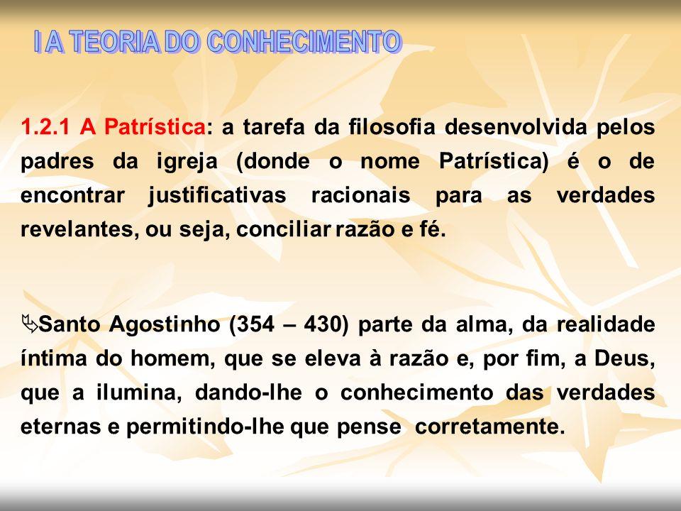 1.2.1 A Patrística: a tarefa da filosofia desenvolvida pelos padres da igreja (donde o nome Patrística) é o de encontrar justificativas racionais para