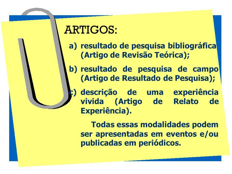 a)resultado de pesquisa bibliográfica (Artigo de Revisão Teórica); b)resultado de pesquisa de campo (Artigo de Resultado de Pesquisa); c)descrição de