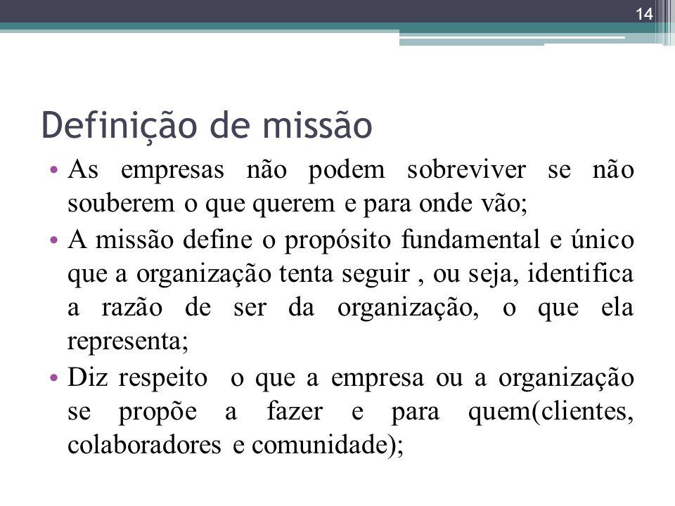 Definição de missão As empresas não podem sobreviver se não souberem o que querem e para onde vão; A missão define o propósito fundamental e único que