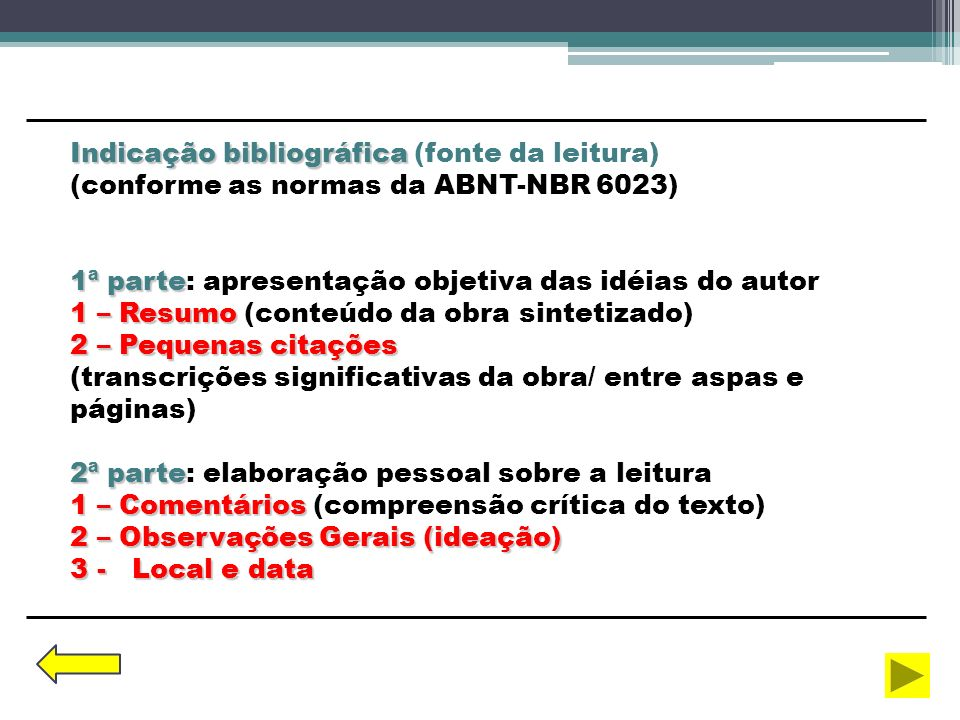 Indicação bibliográfica Indicação bibliográfica (fonte da leitura) (conforme as normas da ABNT-NBR 6023) 1ª parte 1ª parte: apresentação objetiva das