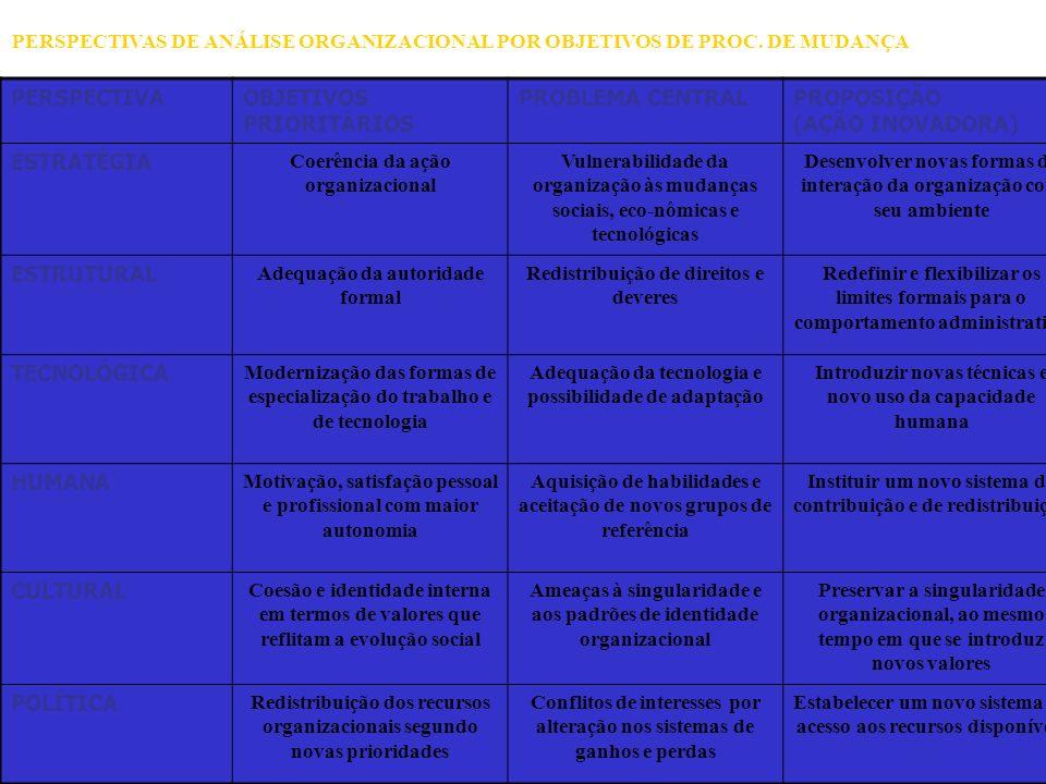 100 PERSPECTIVAOBJETIVOS PRIORITÁRIOS PROBLEMA CENTRALPROPOSIÇÃO (AÇÃO INOVADORA) ESTRATÉGIA Coerência da ação organizacional Vulnerabilidade da organ