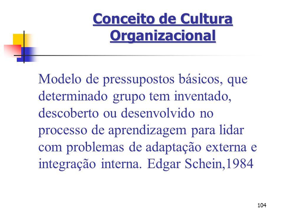 104 Conceito de Cultura Organizacional Modelo de pressupostos básicos, que determinado grupo tem inventado, descoberto ou desenvolvido no processo de