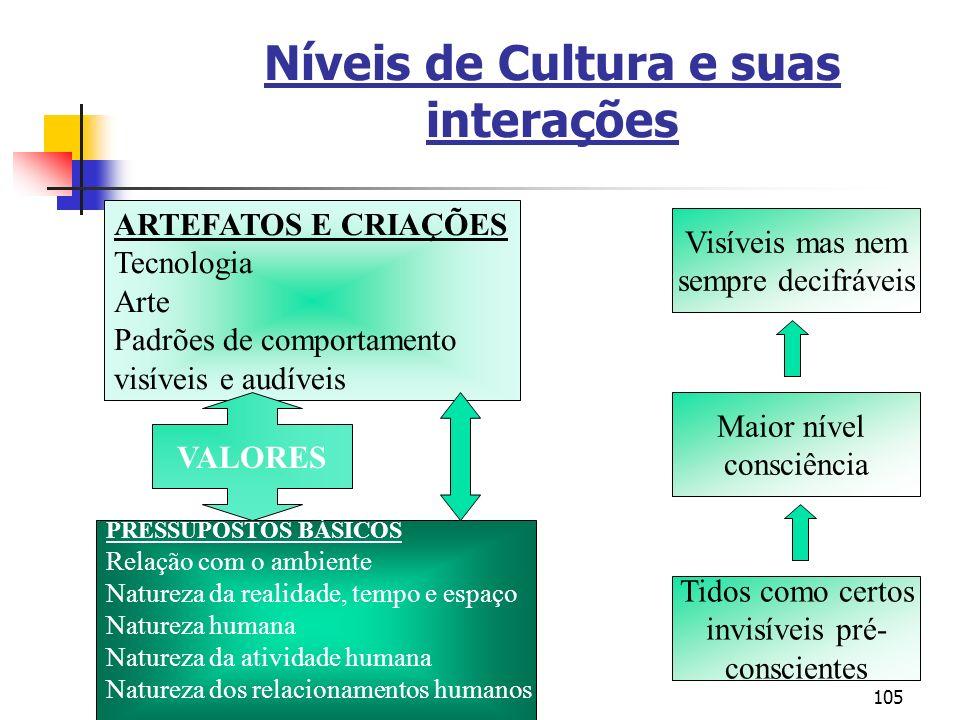 105 Níveis de Cultura e suas interações ARTEFATOS E CRIAÇÕES Tecnologia Arte Padrões de comportamento visíveis e audíveis PRESSUPOSTOS BÁSICOS Relação