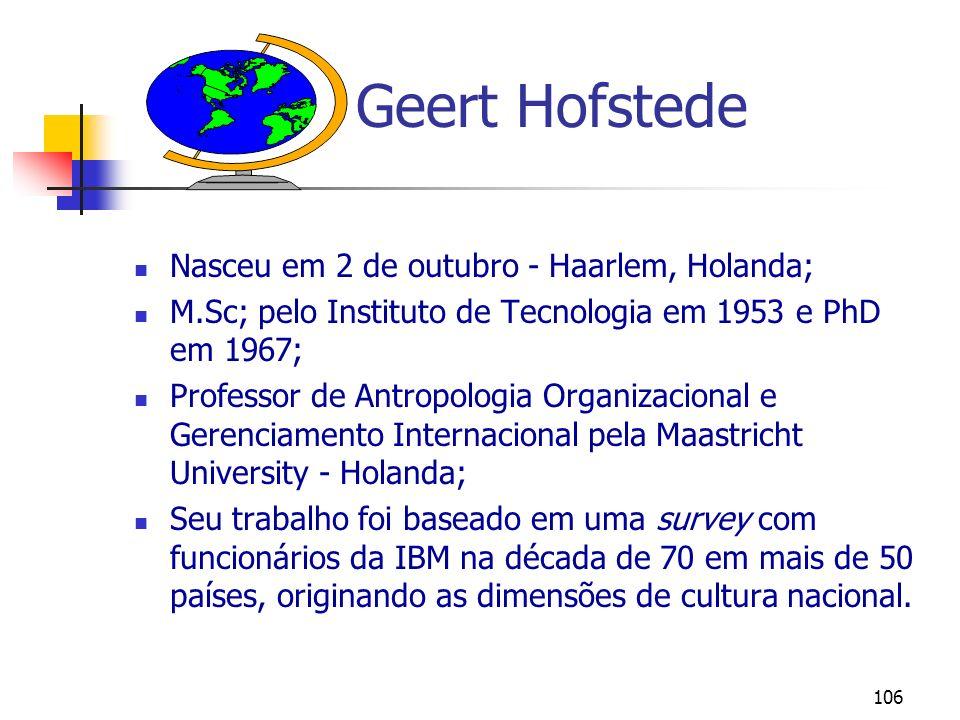 106 Geert Hofstede Nasceu em 2 de outubro - Haarlem, Holanda; M.Sc; pelo Instituto de Tecnologia em 1953 e PhD em 1967; Professor de Antropologia Orga