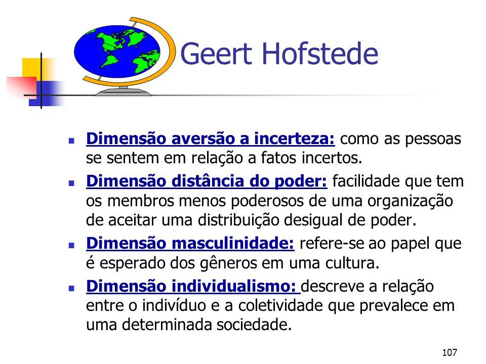 107 Geert Hofstede Dimensão aversão a incerteza: como as pessoas se sentem em relação a fatos incertos. Dimensão distância do poder: facilidade que te