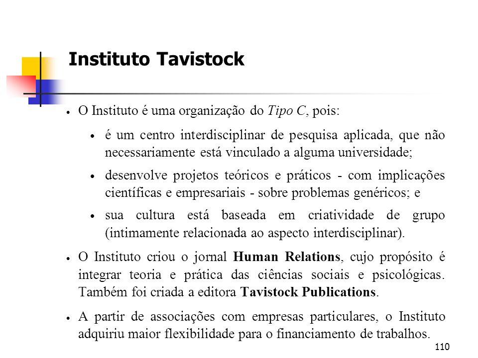 110 Instituto Tavistock O Instituto é uma organização do Tipo C, pois: é um centro interdisciplinar de pesquisa aplicada, que não necessariamente está