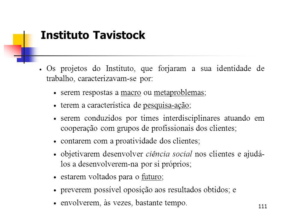 111 Instituto Tavistock Os projetos do Instituto, que forjaram a sua identidade de trabalho, caracterizavam-se por: serem respostas a macro ou metapro