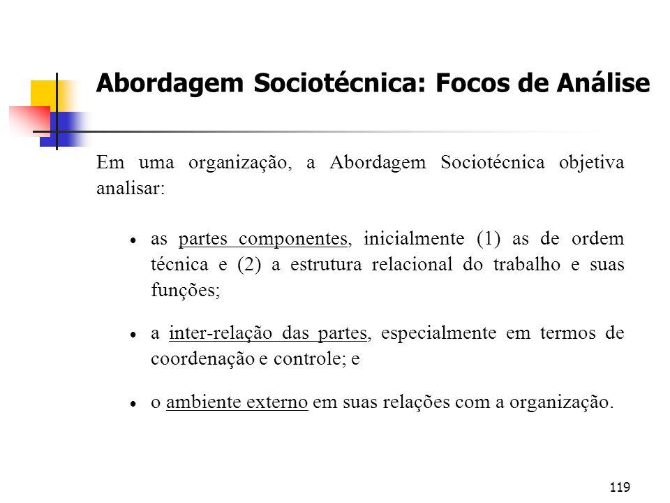 119 Abordagem Sociotécnica: Focos de Análise Em uma organização, a Abordagem Sociotécnica objetiva analisar: as partes componentes, inicialmente (1) a