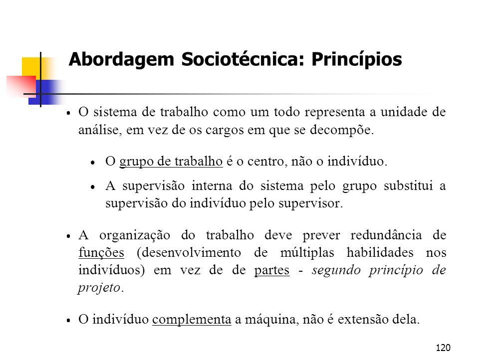 120 Abordagem Sociotécnica: Princípios O sistema de trabalho como um todo representa a unidade de análise, em vez de os cargos em que se decompõe. O g