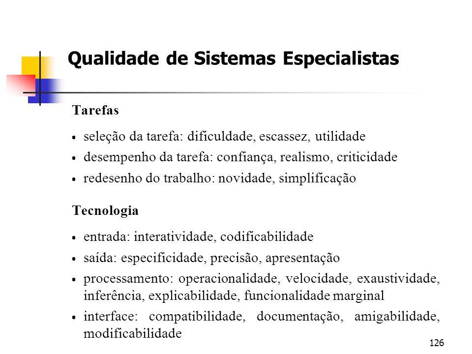 126 Qualidade de Sistemas Especialistas Tarefas seleção da tarefa: dificuldade, escassez, utilidade desempenho da tarefa: confiança, realismo, critici