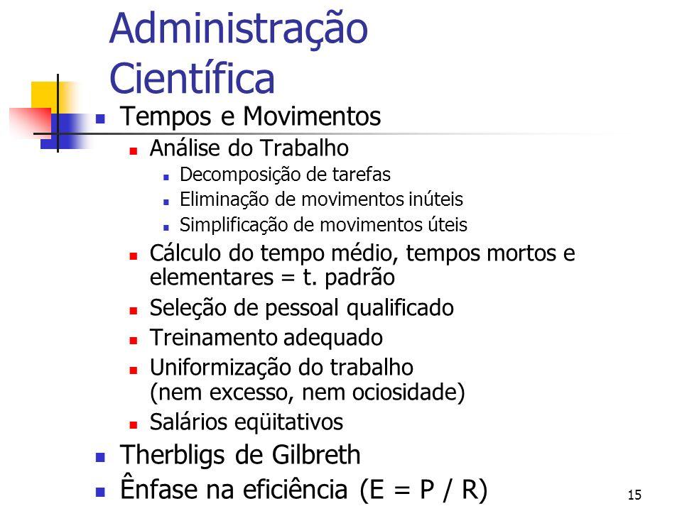15 Administração Científica Tempos e Movimentos Análise do Trabalho Decomposição de tarefas Eliminação de movimentos inúteis Simplificação de moviment