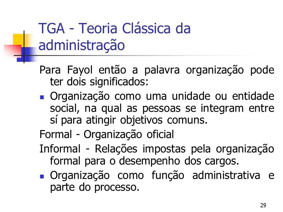 29 TGA - Teoria Clássica da administração Para Fayol então a palavra organização pode ter dois significados: Organização como uma unidade ou entidade