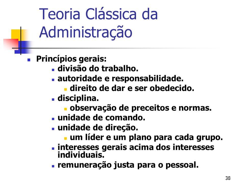 38 Princípios gerais: divisão do trabalho. autoridade e responsabilidade. direito de dar e ser obedecido. disciplina. observação de preceitos e normas