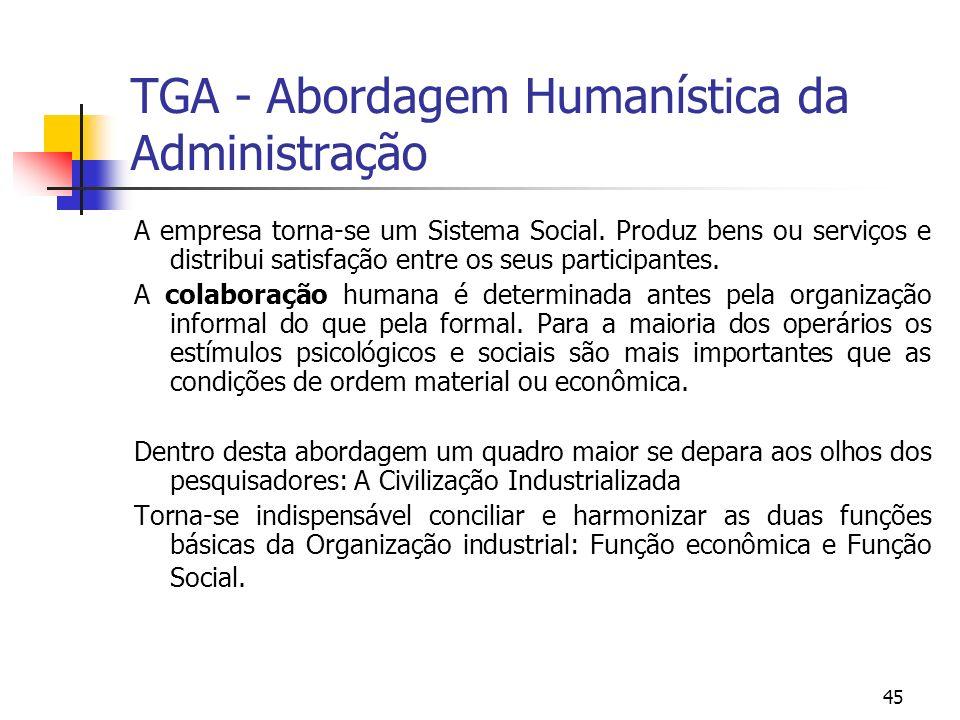 45 TGA - Abordagem Humanística da Administração A empresa torna-se um Sistema Social. Produz bens ou serviços e distribui satisfação entre os seus par