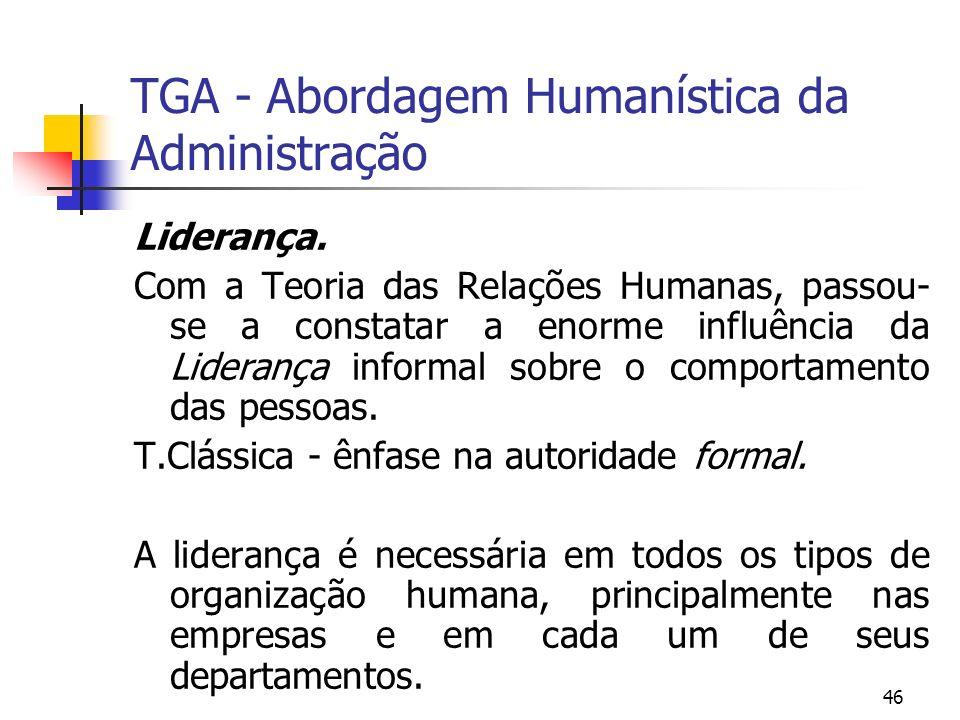 46 TGA - Abordagem Humanística da Administração Liderança. Com a Teoria das Relações Humanas, passou- se a constatar a enorme influência da Liderança