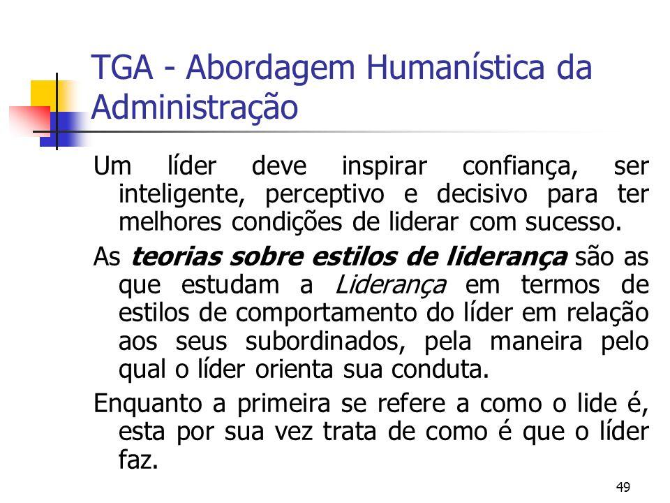 49 TGA - Abordagem Humanística da Administração Um líder deve inspirar confiança, ser inteligente, perceptivo e decisivo para ter melhores condições d