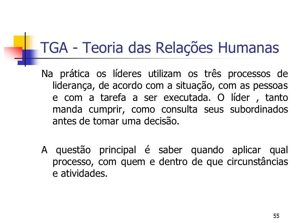 55 TGA - Teoria das Relações Humanas Na prática os líderes utilizam os três processos de liderança, de acordo com a situação, com as pessoas e com a t