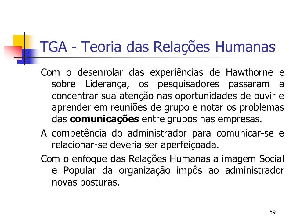 59 TGA - Teoria das Relações Humanas Com o desenrolar das experiências de Hawthorne e sobre Liderança, os pesquisadores passaram a concentrar sua aten