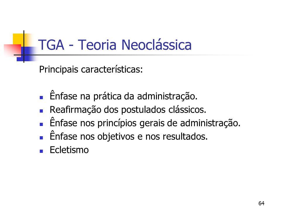 64 TGA - Teoria Neoclássica Principais características: Ênfase na prática da administração. Reafirmação dos postulados clássicos. Ênfase nos princípio