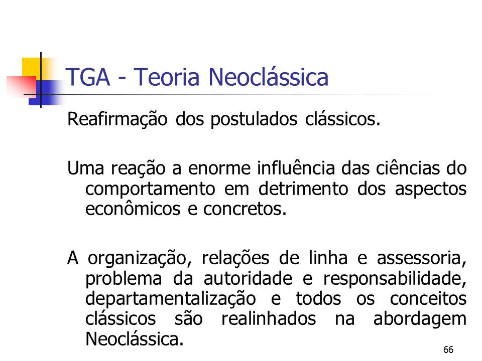 66 TGA - Teoria Neoclássica Reafirmação dos postulados clássicos. Uma reação a enorme influência das ciências do comportamento em detrimento dos aspec