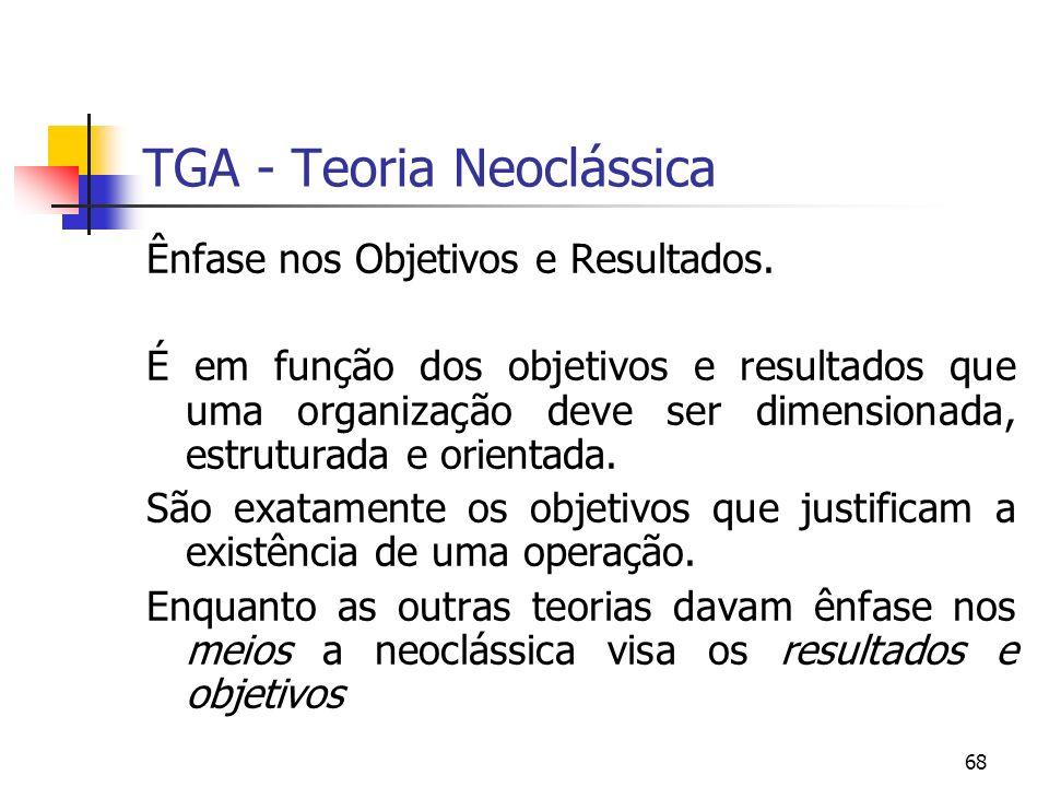 68 TGA - Teoria Neoclássica Ênfase nos Objetivos e Resultados. É em função dos objetivos e resultados que uma organização deve ser dimensionada, estru