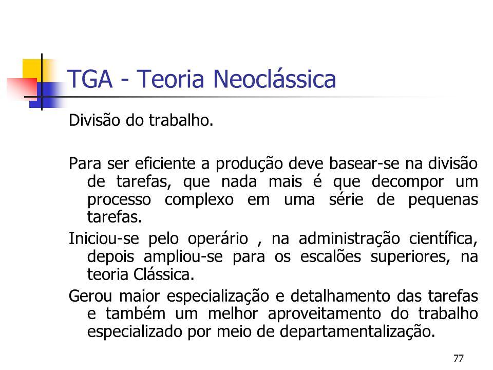 77 TGA - Teoria Neoclássica Divisão do trabalho. Para ser eficiente a produção deve basear-se na divisão de tarefas, que nada mais é que decompor um p