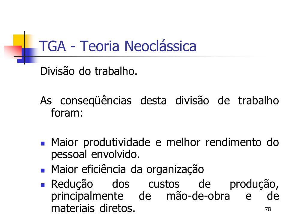 78 TGA - Teoria Neoclássica Divisão do trabalho. As conseqüências desta divisão de trabalho foram: Maior produtividade e melhor rendimento do pessoal