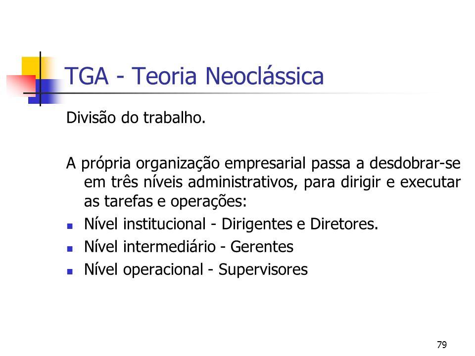 79 TGA - Teoria Neoclássica Divisão do trabalho. A própria organização empresarial passa a desdobrar-se em três níveis administrativos, para dirigir e