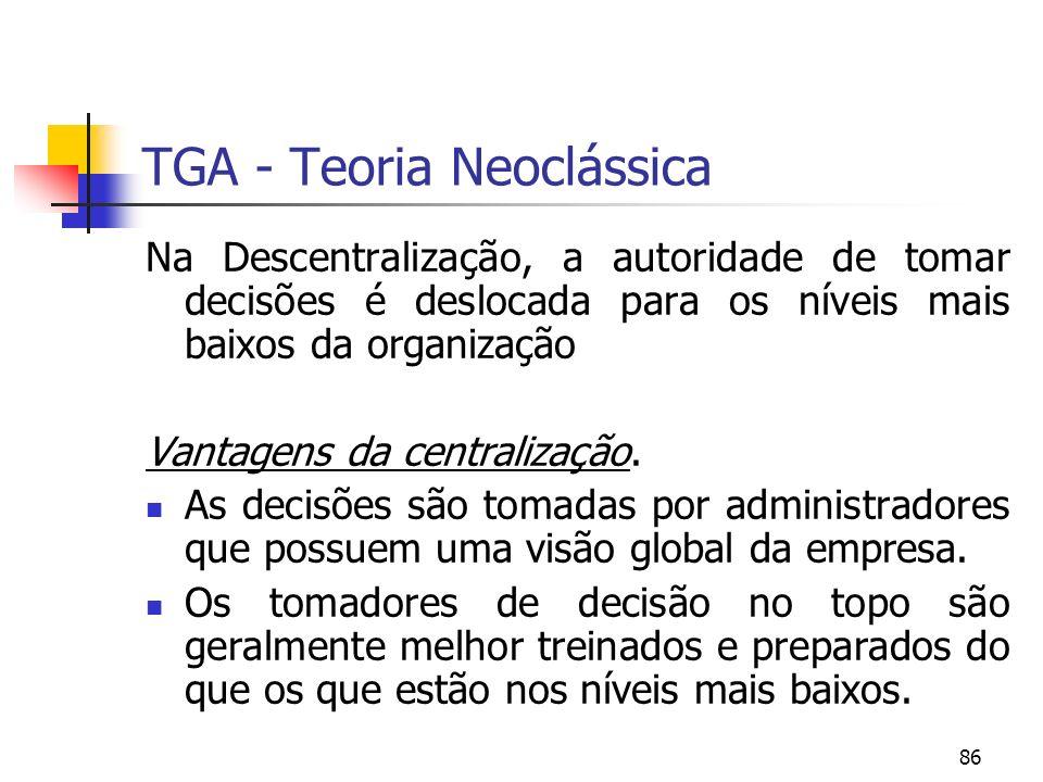 86 TGA - Teoria Neoclássica Na Descentralização, a autoridade de tomar decisões é deslocada para os níveis mais baixos da organização Vantagens da cen