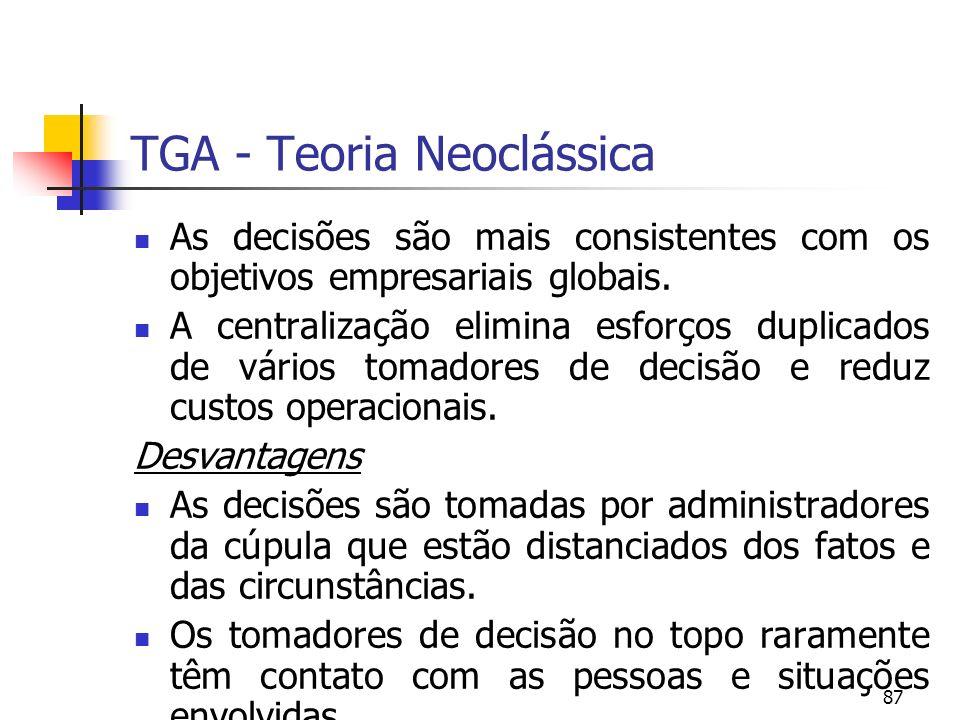87 TGA - Teoria Neoclássica As decisões são mais consistentes com os objetivos empresariais globais. A centralização elimina esforços duplicados de vá
