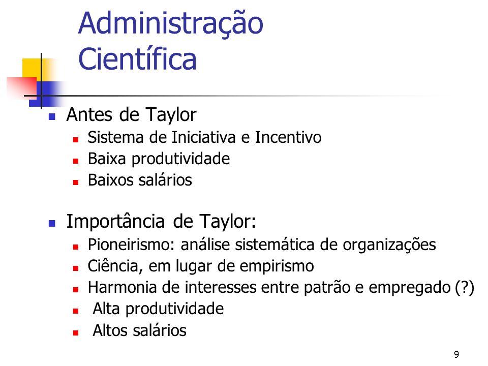 9 Administração Científica Antes de Taylor Sistema de Iniciativa e Incentivo Baixa produtividade Baixos salários Importância de Taylor: Pioneirismo: a