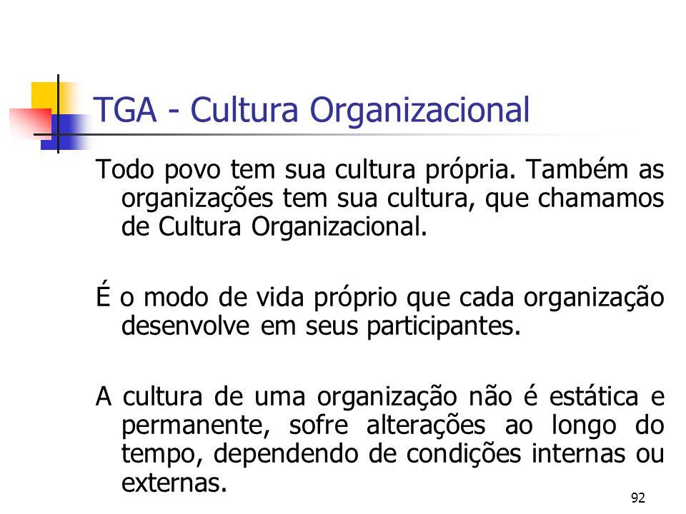 92 TGA - Cultura Organizacional Todo povo tem sua cultura própria. Também as organizações tem sua cultura, que chamamos de Cultura Organizacional. É o