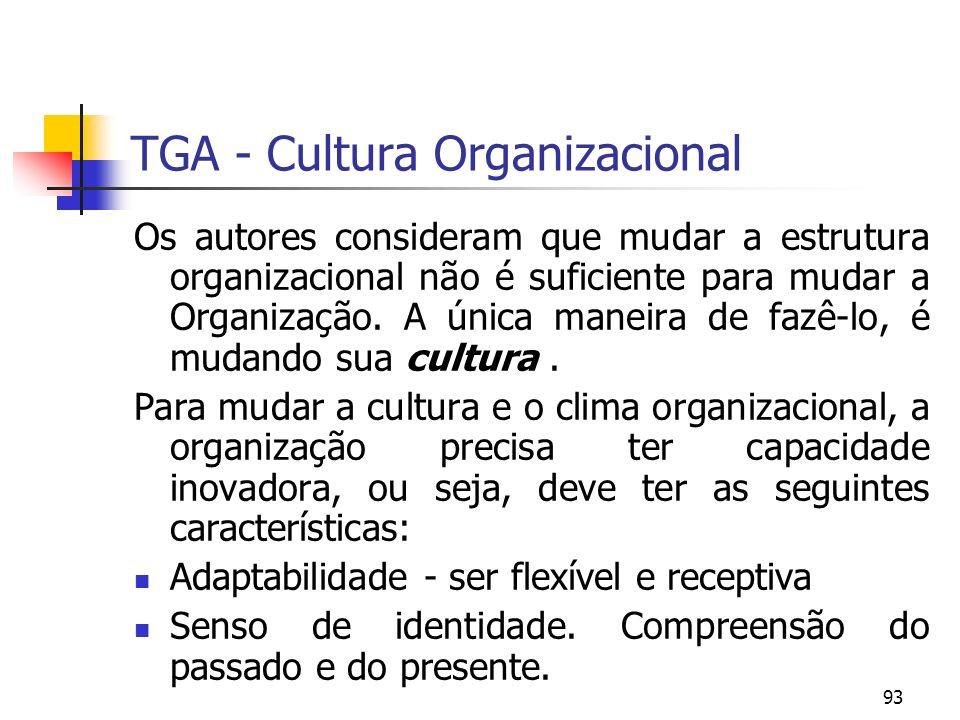 93 TGA - Cultura Organizacional Os autores consideram que mudar a estrutura organizacional não é suficiente para mudar a Organização. A única maneira