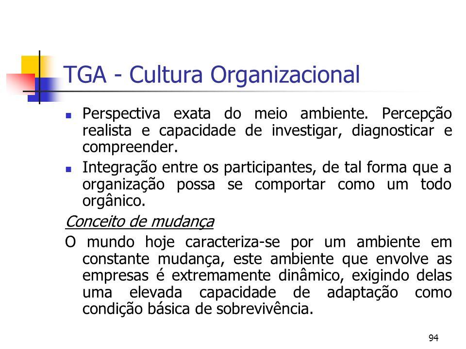 94 TGA - Cultura Organizacional Perspectiva exata do meio ambiente. Percepção realista e capacidade de investigar, diagnosticar e compreender. Integra
