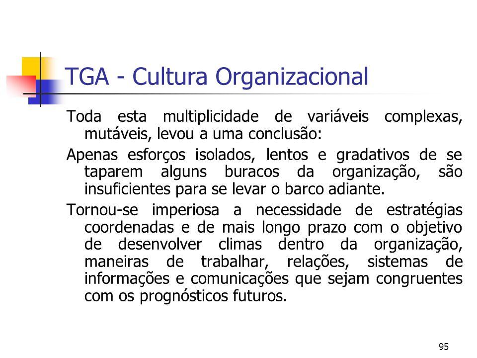 95 TGA - Cultura Organizacional Toda esta multiplicidade de variáveis complexas, mutáveis, levou a uma conclusão: Apenas esforços isolados, lentos e g