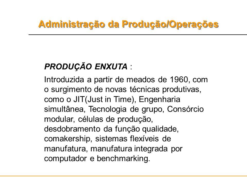 Administração da Produção/Operações PRODUÇÃO ENXUTA : Introduzida a partir de meados de 1960, com o surgimento de novas técnicas produtivas, como o JI