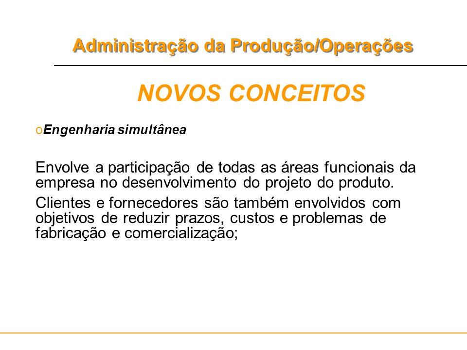 Administração da Produção/Operações NOVOS CONCEITOS oEngenharia simultânea Envolve a participação de todas as áreas funcionais da empresa no desenvolv