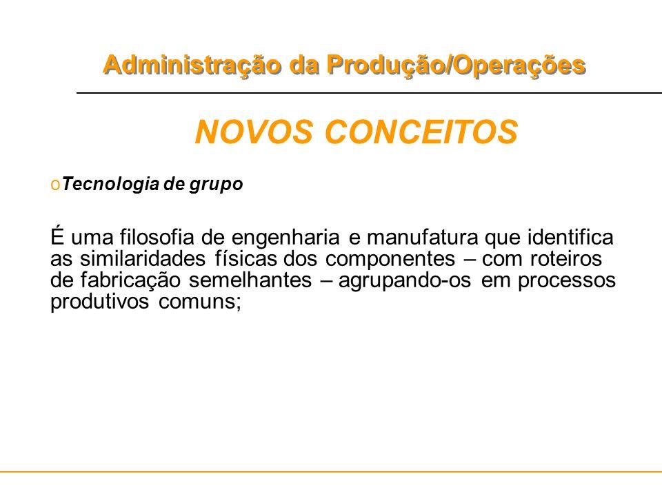 Administração da Produção/Operações NOVOS CONCEITOS oTecnologia de grupo É uma filosofia de engenharia e manufatura que identifica as similaridades fí