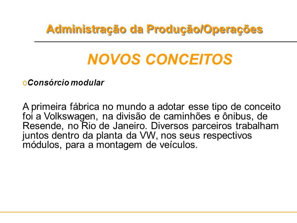 Administração da Produção/Operações NOVOS CONCEITOS oConsórcio modular A primeira fábrica no mundo a adotar esse tipo de conceito foi a Volkswagen, na