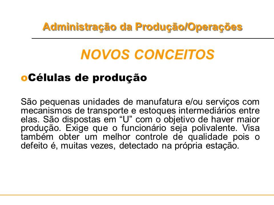 Administração da Produção/Operações NOVOS CONCEITOS oCélulas de produção São pequenas unidades de manufatura e/ou serviços com mecanismos de transport